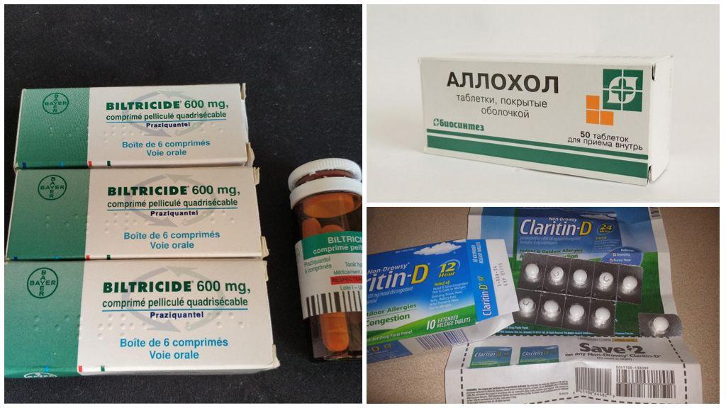 Лекарства, используемые при лечении описторхоза