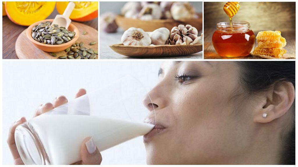Рецепт с молоком, чесноком и тыквенными семечками